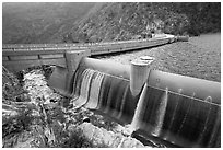 Overflow channel,  O'Shaughnessy Dam. Yosemite National Park, California, USA. (black and white)