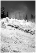 Raging waters of Waterwheel Falls, morning. Yosemite National Park ( black and white)