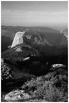 Half-Dome seen from Clouds rest, morning. Yosemite National Park ( black and white)