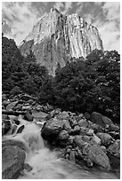West face of El Capitan and creek. Yosemite National Park ( black and white)