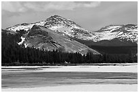 Lambert Dome surrounded by snowy peaks and meadows. Yosemite National Park, California, USA. (black and white)