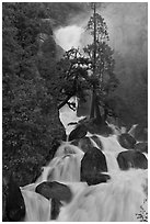 Cascade Creek spring run-off. Yosemite National Park ( black and white)