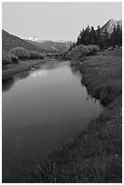 Tuolumne River in Lyell Canyon, dusk. Yosemite National Park ( black and white)