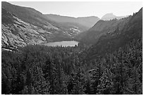 Merced Lake from above. Yosemite National Park ( black and white)