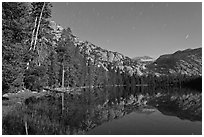 Merced Lake by moonlight. Yosemite National Park ( black and white)