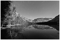 Merced Lake, tall trees, and stars. Yosemite National Park ( black and white)