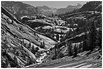 Upper Merced River Canyon view, morning. Yosemite National Park ( black and white)