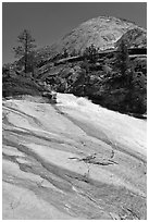 Granite slab, Merced River, and dome. Yosemite National Park ( black and white)