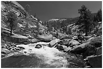 Merced river flowing in granite canyon. Yosemite National Park ( black and white)