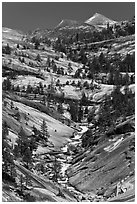 Landscape of smooth granite with flowing Merced. Yosemite National Park ( black and white)
