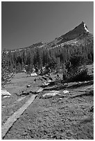 John Muir Trail and backpackers under Tressider Peak. Yosemite National Park ( black and white)
