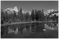 Cathedral range reflected in stream. Yosemite National Park, California, USA. (black and white)