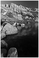 North Peak, Boulders and Upper McCabe Lake, sunset. Yosemite National Park ( black and white)