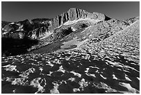 Snow field and North Peak, morning. Yosemite National Park ( black and white)