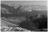 Roosevelt Lake and mountain ranges. Yosemite National Park ( black and white)