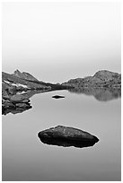 Stone in Roosevelt Lake, dawn. Yosemite National Park ( black and white)