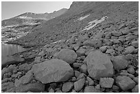 Boulders from rock slide below Mount Conness. Yosemite National Park ( black and white)