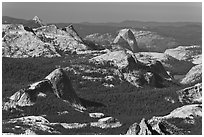 Fairview Dome and Half-Dome from Mount Conness. Yosemite National Park ( black and white)