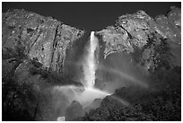 Bridalveil Fall with double rainbow. Yosemite National Park, California, USA. (black and white)