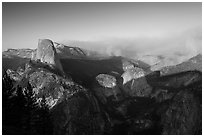 Half-Dome and forest fire from Washburn Point, late afternoon. Yosemite National Park ( black and white)