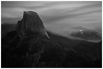 Half-Dome, forest fire, and smoke. Yosemite National Park ( black and white)