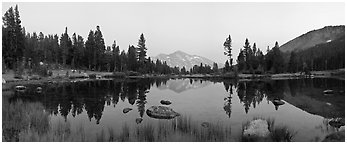 Tarn near Tioga Pass and Mammoth Peak at dusk. Yosemite National Park (Panoramic black and white)