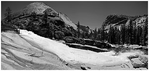 Bend of the Merced River in Upper Merced River Canyon. Yosemite National Park (Panoramic black and white)