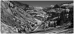 Smooth granite scenery in the Upper Merced River Canyon. Yosemite National Park (Panoramic black and white)