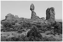 Balanced rock and other rock formations. Arches National Park ( black and white)