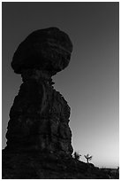 Balanced rock at dusk. Arches National Park ( black and white)