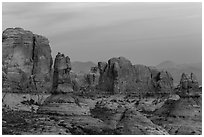 Entrada Sandstone towers seen from Garden of Eden at sunset. Arches National Park ( black and white)