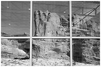 Sandstone walls, Visitor Center window reflexion. Arches National Park ( black and white)