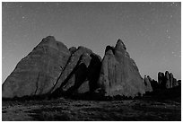 Fins at night with Milky Way. Arches National Park ( black and white)