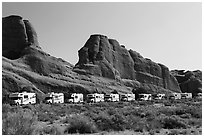 RVs parked at Devils Garden trailhead. Arches National Park ( black and white)