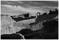 Delicate Arch and Winter Camp Wash Amphitheater. Arches National Park ( black and white)