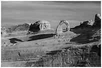Delicate Arch and Frame Arch, early morning. Arches National Park ( black and white)