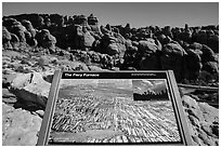 Interpretive sign, Fiery Furnace. Arches National Park ( black and white)