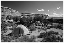 Tent camping. Arches National Park ( black and white)