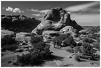 Devils Garden Campground. Arches National Park, Utah, USA. (black and white)