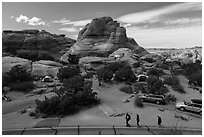 People walking in Devils Garden  Campground. Arches National Park ( black and white)