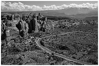 Scenic road and Fiery Furnace fins. Arches National Park ( black and white)