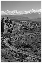 Scenic road, Fiery Furnace, and La Sal mountains. Arches National Park ( black and white)