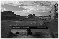 Interpretive sign, Courthouse towers. Arches National Park ( black and white)