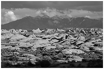 Petrified dunes and cloudy La Sal mountains. Arches National Park ( black and white)