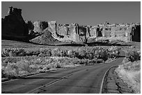 Road, Courthouse wash and Courthouse towers. Arches National Park, Utah, USA. (black and white)