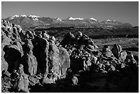 Fiery Furnace and La Sal Mountains. Arches National Park ( black and white)