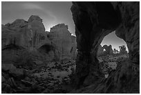 Cove of Arches and Cove Arch at night. Arches National Park ( black and white)