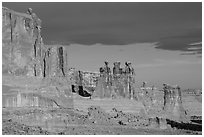 Three Gossips and Courthouse towers, early morning. Arches National Park ( black and white)