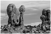 Balanced formations in Garden of Eden. Arches National Park ( black and white)