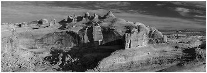 Delicate Arch above Winter Camp Wash. Arches National Park (Panoramic black and white)